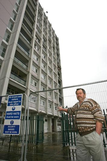 Resident Kevin Collins is concerned about the fire exits at Liston Way on the Orchard Estate while building work is carried out.