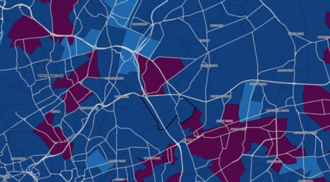 This map shows where the Covid hotspots are in east London. Credit: UK Government Covid dashboard