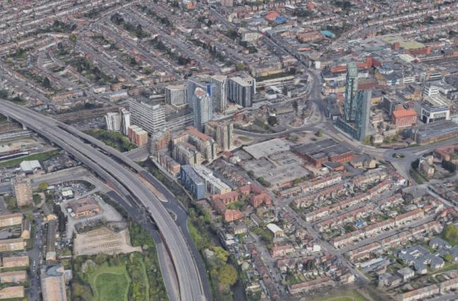 An aerial view of the gyratory (Google Earth)