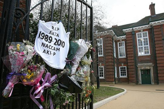 Tributes to Akta Patel left outside Walthamstow School for Girls