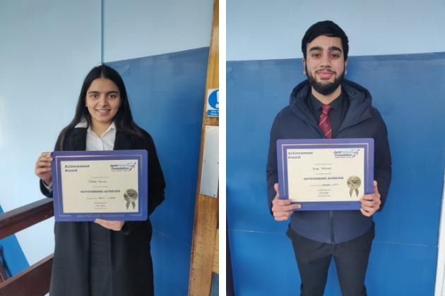 Jasdeep Panum and Areeb Mahmood have been recognised by the Jack Petchey Foundation