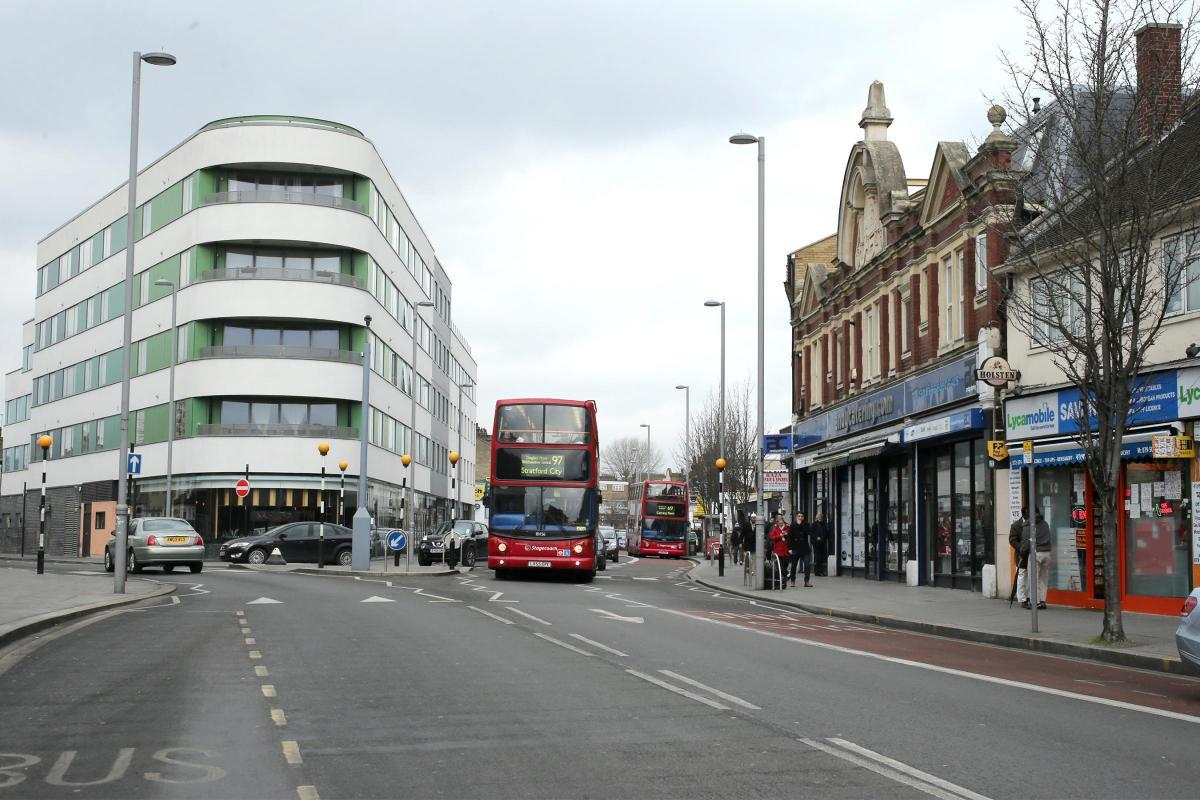 The junction of Leyton High Road and Grange Park Road