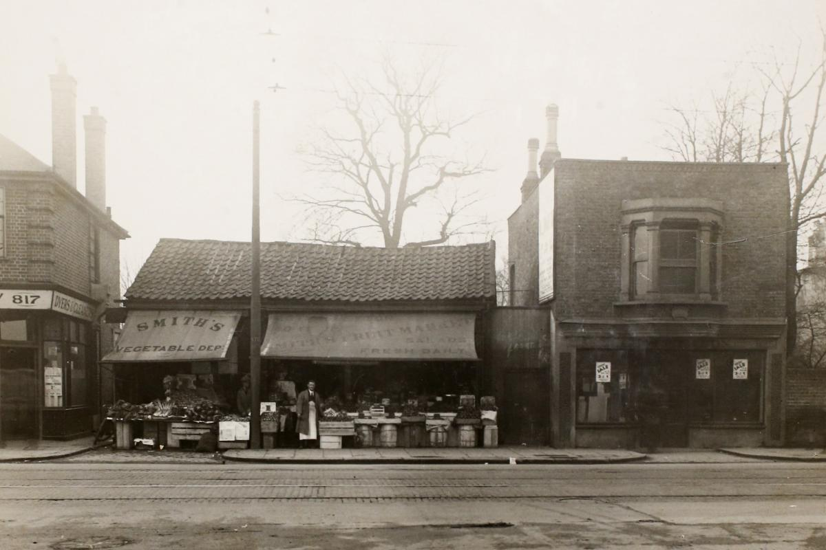 Leyton High Road, two old buildings that made up a shoeing forge, demolished in 1932 for swimming baths. Picture: Vestry House Museum archive