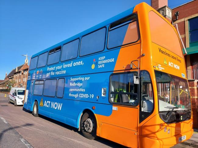 A vaccine bus will be in Ilford this evening and on Saturday. Photo: Redbridge Council