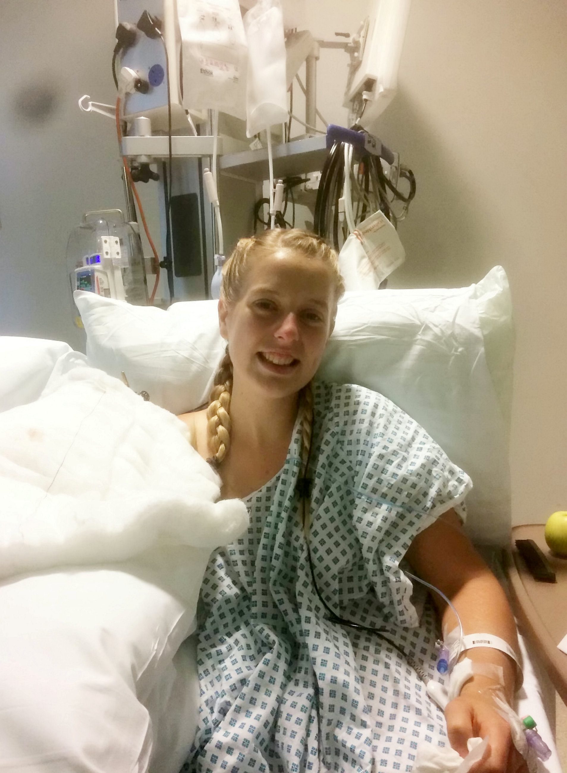 Laura Armstrong in hospital. Photo: SWNS
