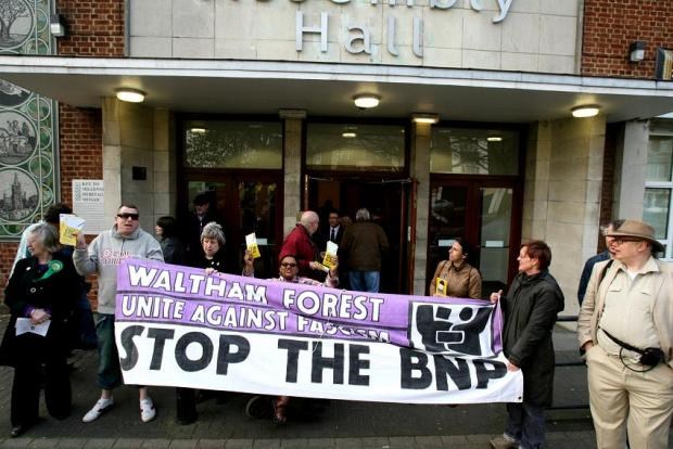 Unite Against Fascism members rallying against the British National Party. File image.