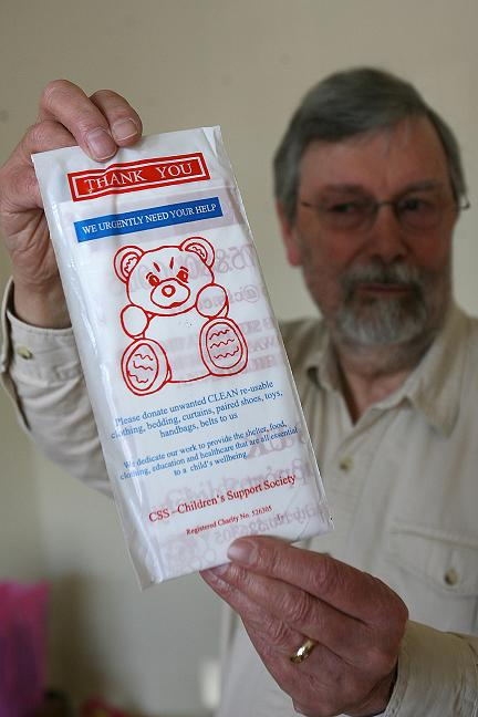 Peter Jeffrey, 73, and one of the bogus charity collection bags