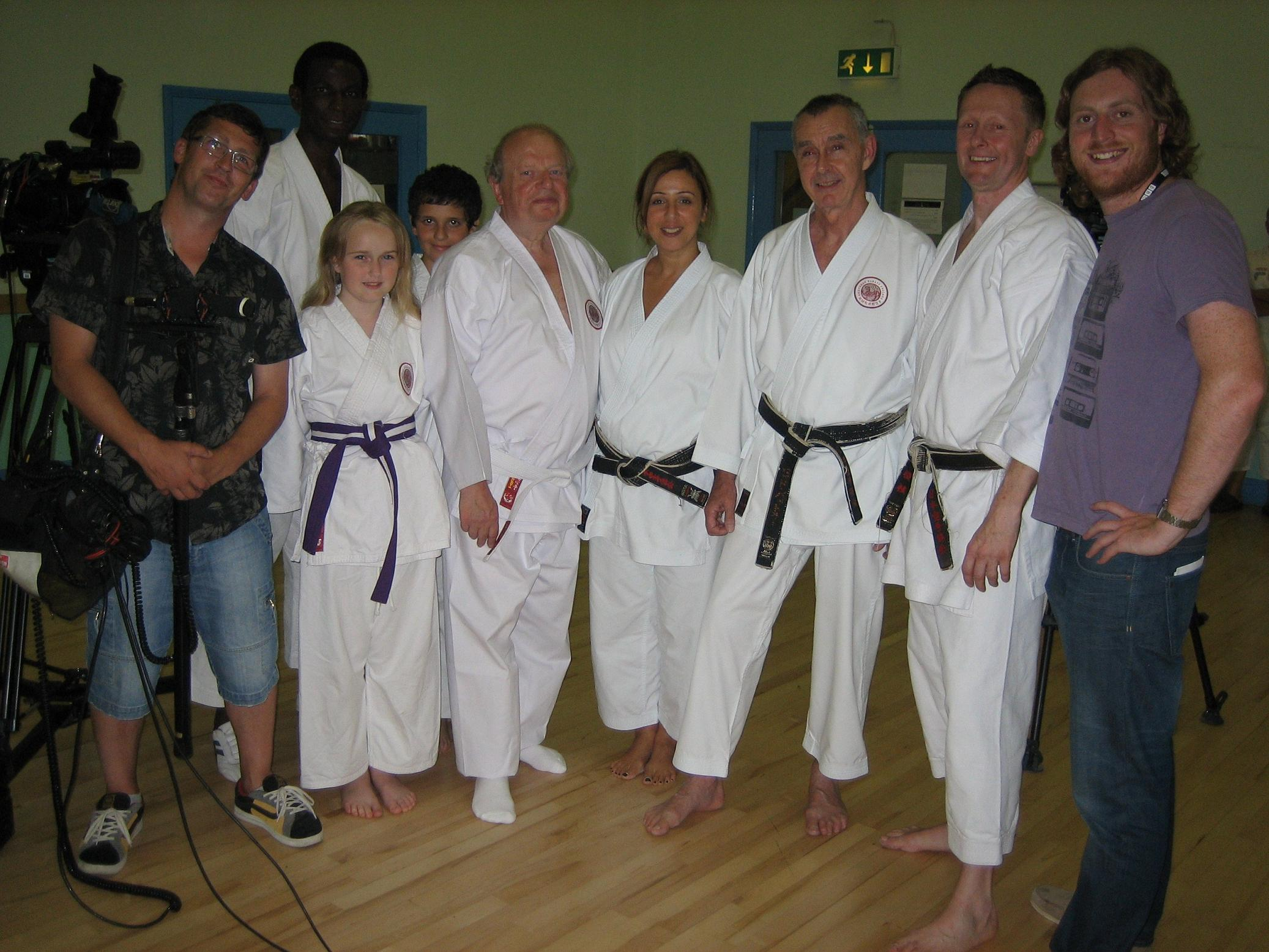 John Sergeant with members of the Shotokan Karate Club