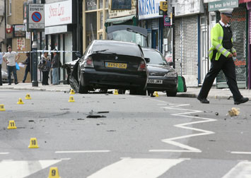 The crash scene in Hoe Street.