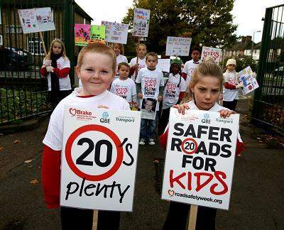 Sean Lacy (front left) and fellow pupils calls on drivers to slow down