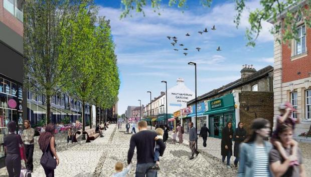 An artist's impression of how a regenerated Walthamstow High Street could look.