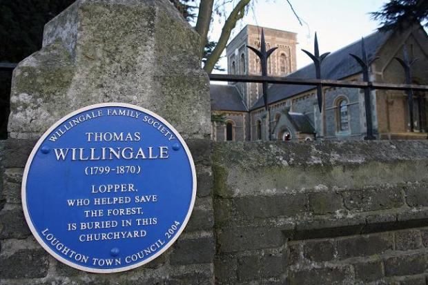 A blue plaque for Thomas Willingale at St John's Church, Church Lane, Loughton
