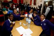 Pupils at Buxton Primary School celebrate a quiz day this year
