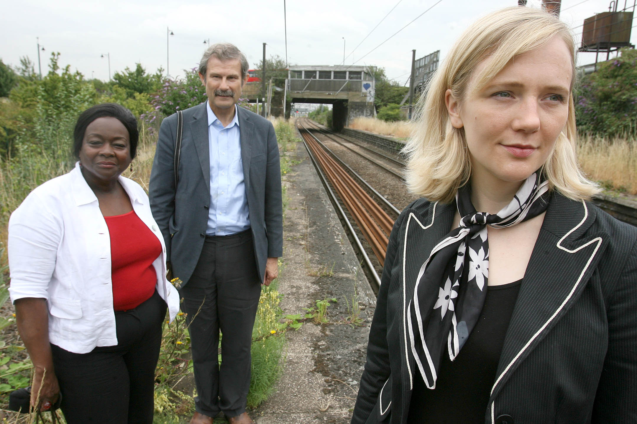 From left, GLA member Jennette Arnold, transport campaigner Peter Woodrow and MP Stella Creasy have welcomed TfL's conditional backing for a re-opened Lea Bridge station