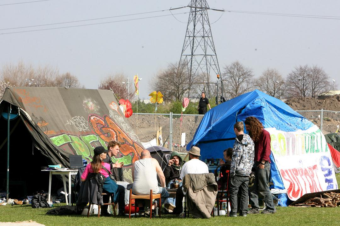 Protesters have halted work on the Olympics training centre on Leyton Marsh