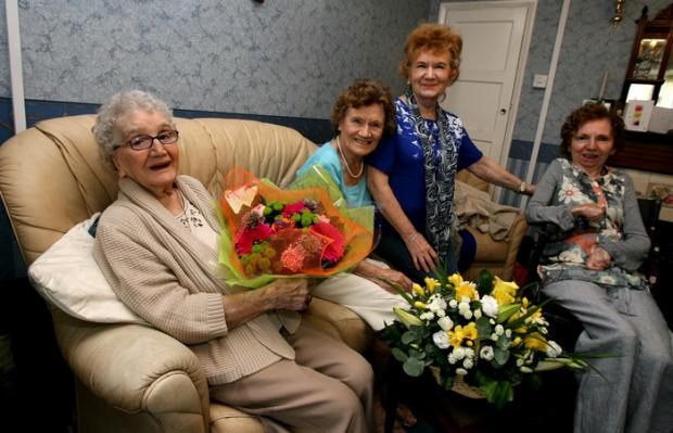 Edith Rogers celebrates her 100th birthday with daughters Edith Girling, Sylvia Block and Georgina Rogers.