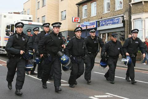 Police take to the streets at the demonstration