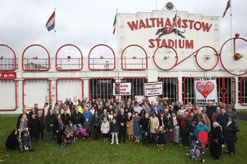 Walthamstow Stadium static protest of people angry that the stadium is going to be turned into homes