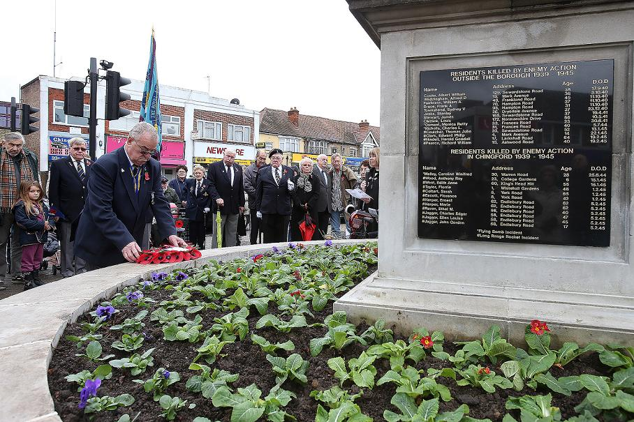 The unveiling of the memorial in Chingford.