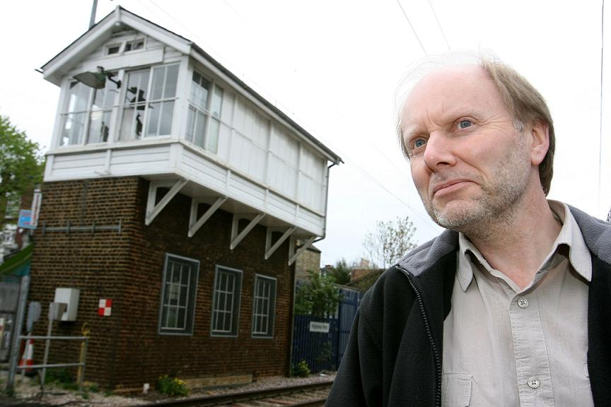 Mike Payne outside the signal box