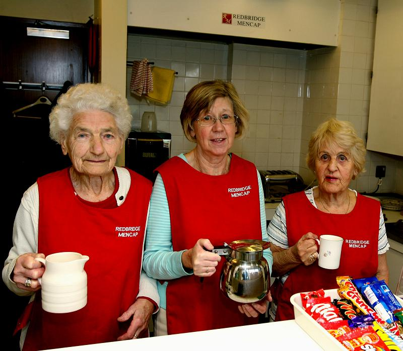 Anne Jenkins, Barbara Gardner and Iris Allison in the Redbridge Mencap canteen at Redbridge Magistrates Court