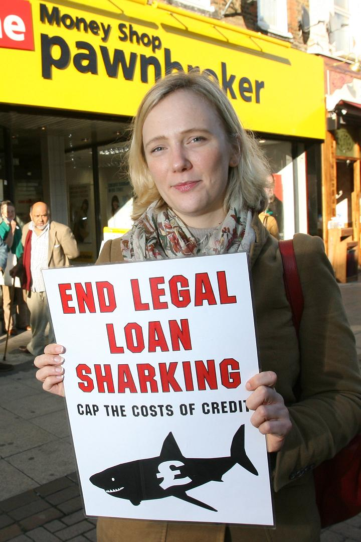 Stella Creasy campaigning against 'legal loan sharks' in Walthamstow High Street last year.