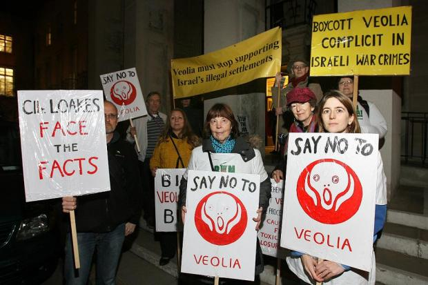 Campaigners earlier this year outside Waltham Forest Town Hall protesting against the decision to include Veolia on the contract shortlists.