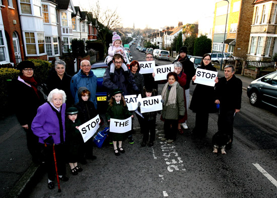 Residents of Wellington Road photographed last year in their bid to prevent their road being a rat run