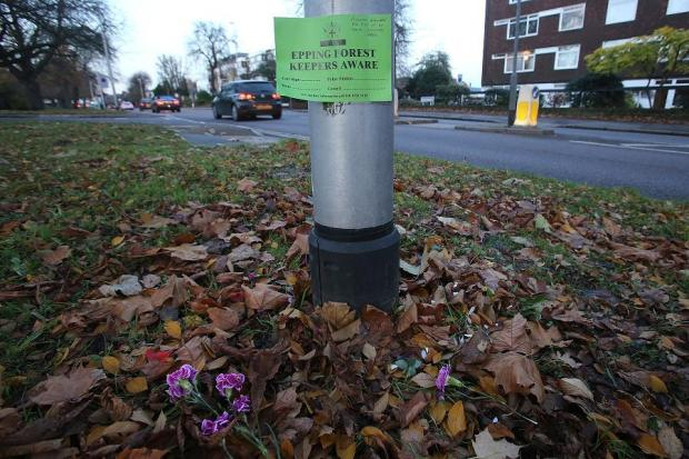 East London and West Essex Guardian Series: The sign left in place of the floral tributes