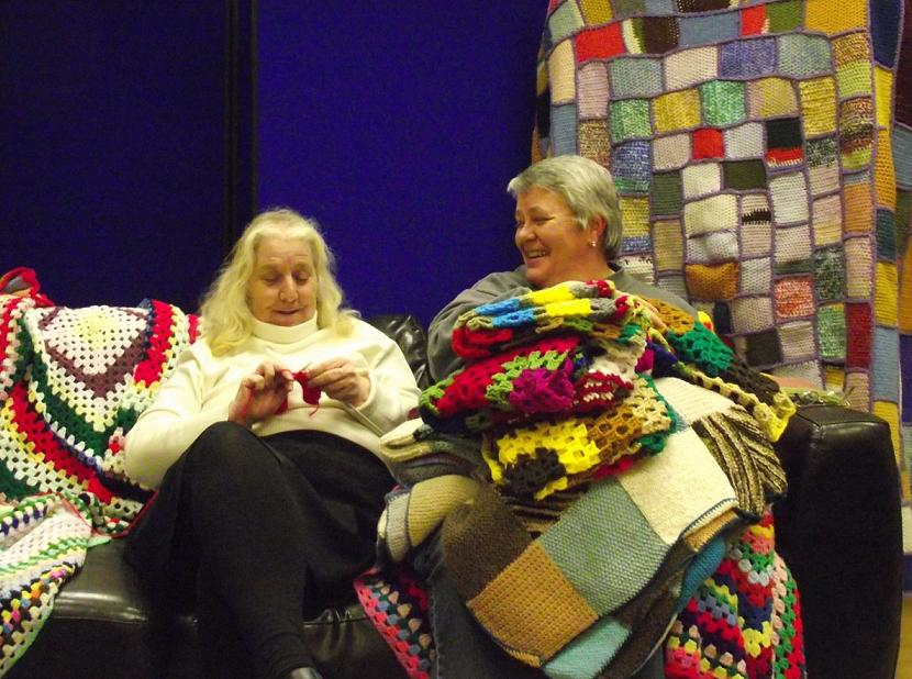 Community comes together to knit blankets for children in Africa