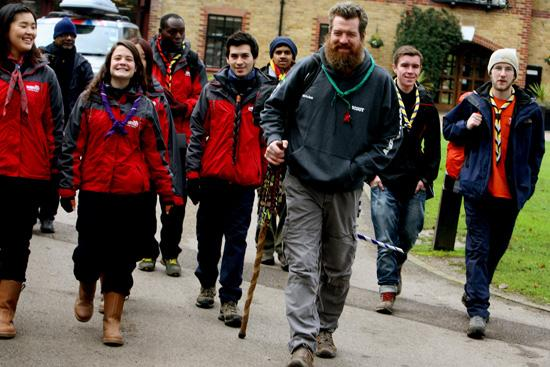 Phil Packer MBE leading scouts from across the world  in a walk from Gilwell Park