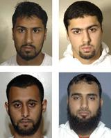 Clockwise from top left: Ahmed Abdullah Ali, Arafat Waheed Khan, Waheed Zaman and Tanvir Hussain