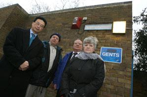 Cllr Thomas Chan, Brian Jobber, Cllr Chris Cummins and Cllr Sue Nolan outside the public toilets in Woodbine Place, Wanstead.