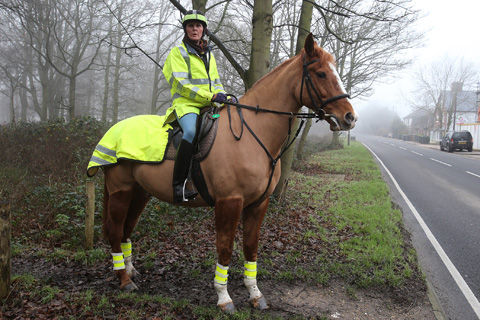 Fiona Daniels with her horse Jack beside Thornwood High Road
