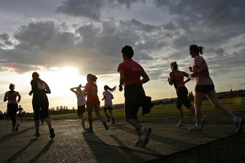 Race for Life runners at North Weald Airfield