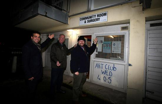 Cllr Darshan Sunger, Bert Morris and Cllr Paul Graham outside the planned community hall