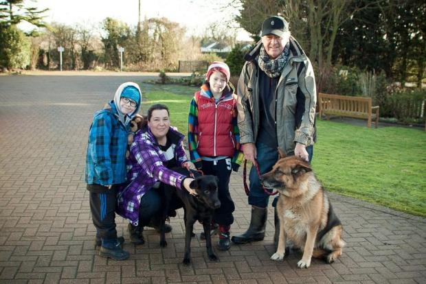 Owen, Lisa, Lewis and Pat Curran with dogs Sparky and Freddie