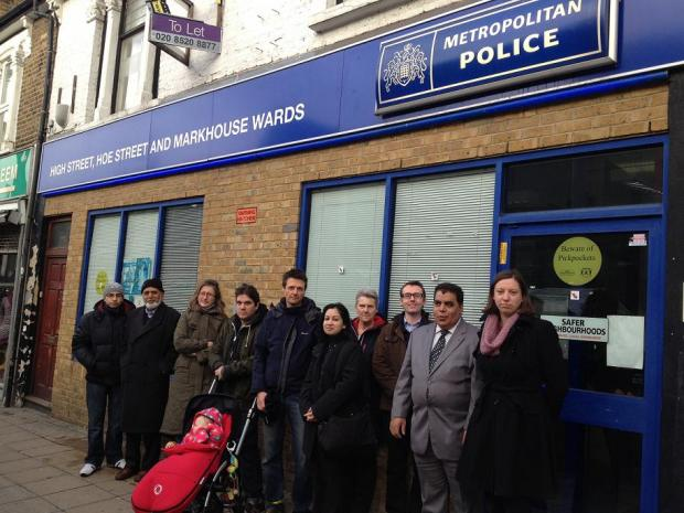 East London and West Essex Guardian Series: Campaigners outside the Safer Neighbourhood Team base in Walthamstow High Street.