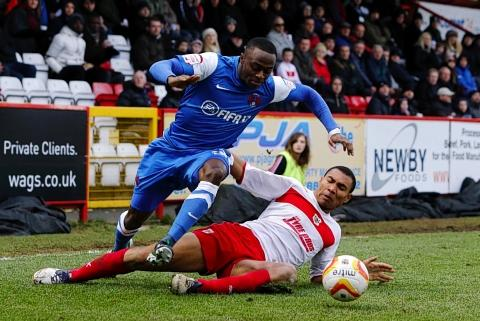 East London and West Essex Guardian Series: Moses Odubajo attacks during the O's win at Stevenage: Simon O'Connor
