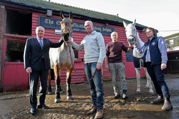 (owner) and Graham and Cindy Evans with horses Jasmin and Remi at the Queen Elizabeth Riding School