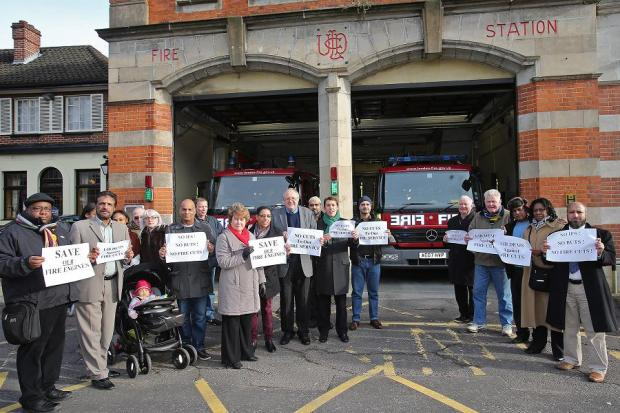 Campaigners outside Leytonstone Fire Station. (EL34642)