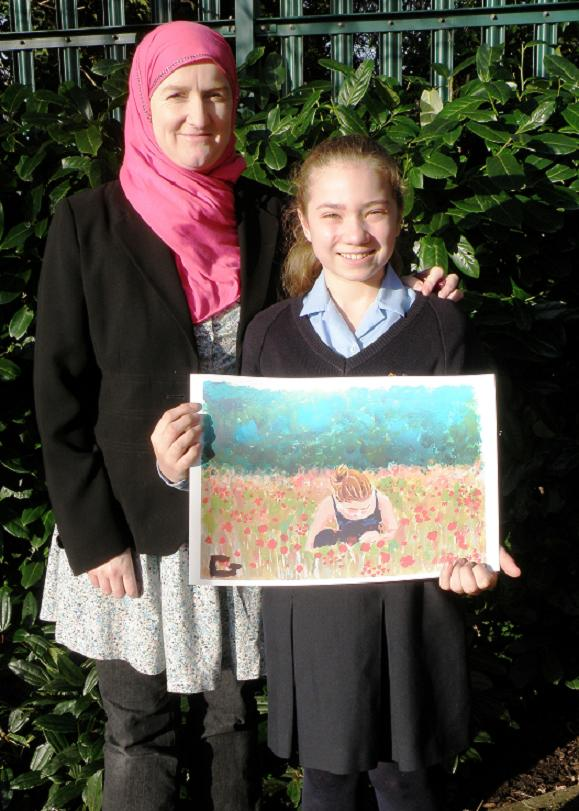 Julie Siddiqui with Claudia Joarder and her winning painting