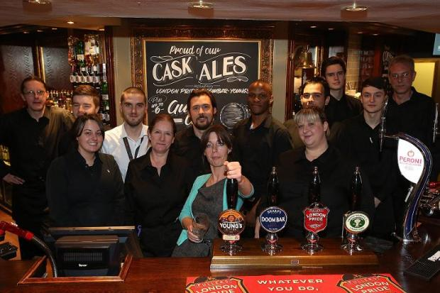 Manager Linzi Price (centre) with staff at the Kings Head Pub, which has had a £200,000 facelift