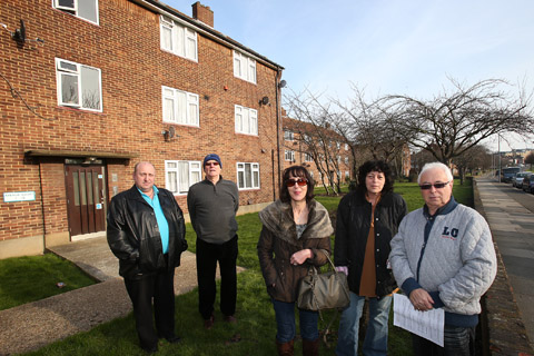 L-R, Jeff Laws, Lance Nedergaard, Sharon Murray, Gaby Laws and Paul Lexton, leaseholders are unhappy over shoddy works on their flats.
