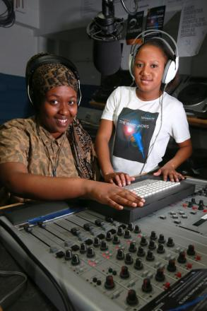 Sagal Yusuf and Shamara Adams in the Streetlife radio studio at Waltham Forest Coillege.