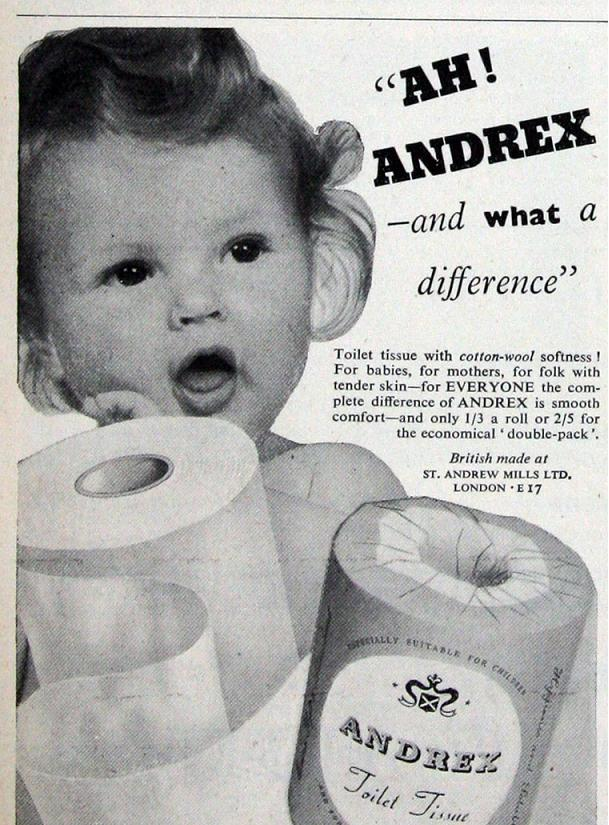An Andrex advert from July 1954. Courtesy of www.gracesguide.co.uk