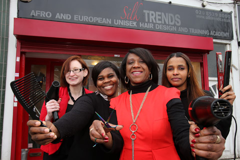L-R, Simone Smith, Tracey Downer, Ingrid Farrell and Fahma Shegow outside the Silk Trends Afro & European Hair Design salon.
