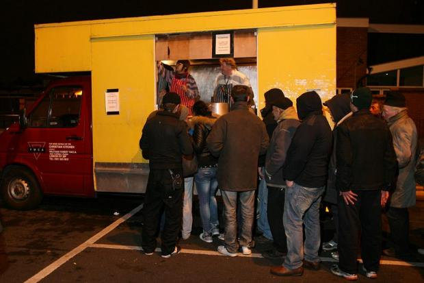 The mobile soup kitchen in Mission Grove car park, Walthamstow.