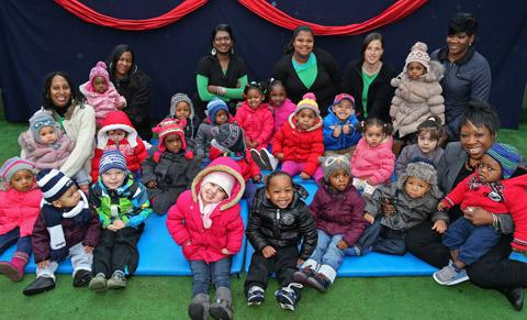Manager Sandra Garrett (right) with staff and children at Twinkles Day Nursery. EL34885-1