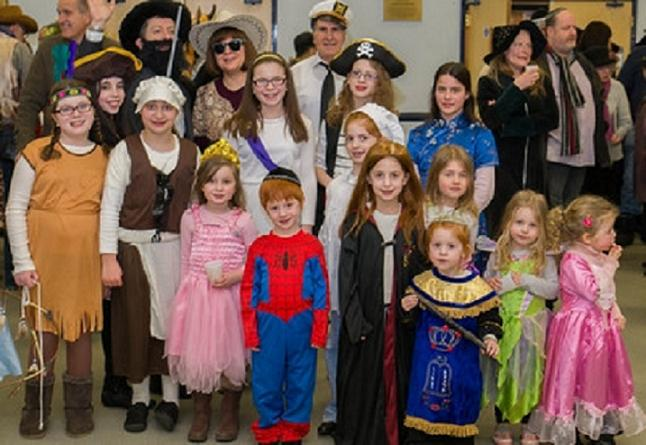 Some of the costumes worn by members of the synagogue for Purim